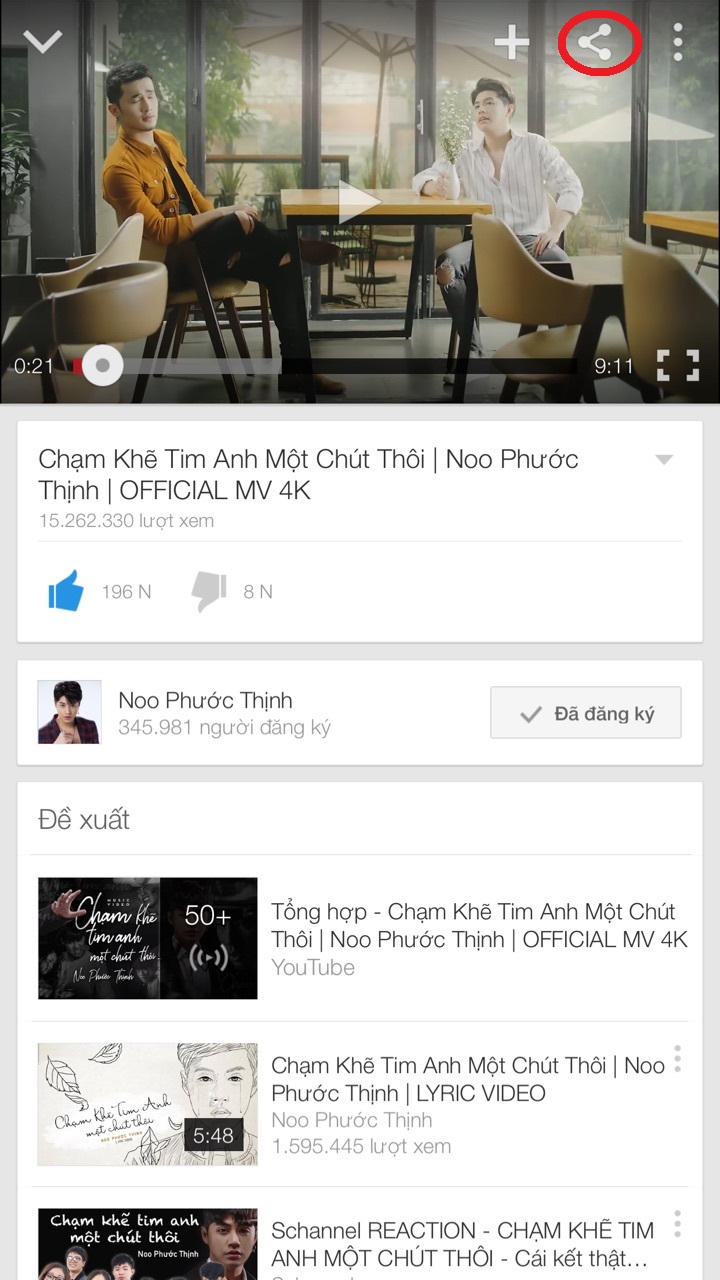 Chọn video Youtube muốn nghe audio